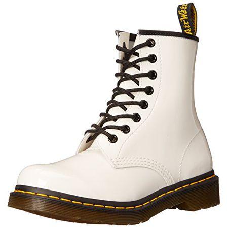 Dr. Martens 1460 Patent WHITE, Damen Combat Boots, Weiß (White), 38 EU (5 Damen UK)
