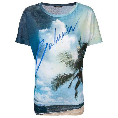 9d814853fb1cf6 Balmain Leinen-T-Shirt mit Logo-Print - Blau