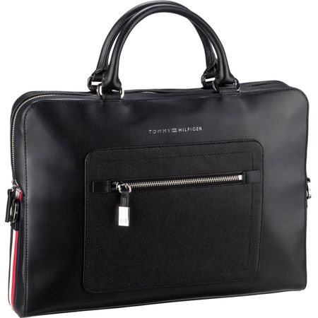 8c179463423fd Tommy Hilfiger Aktentasche Corporate Leather Computer Bag 4240 Black