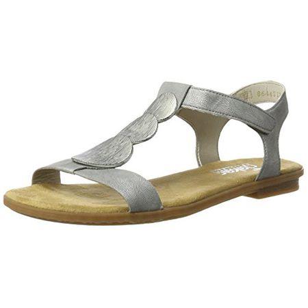 Rieker Damen 608Y5 Offene Sandalen mit Keilabsatz, Grau