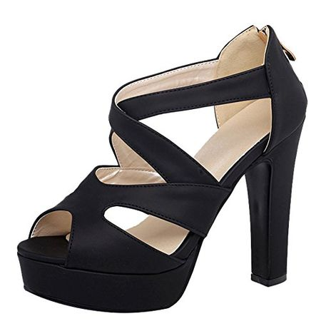 YE Damen Peep Toe 10CM Absatz High Heels Plateau Stiletto