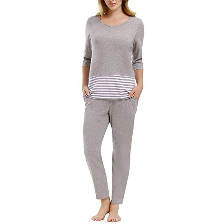 624e372d9e Yulee Damen Schlafanzug Ausgewählte Baumwolle Pyjama Top und Hose Set in  europäischen Größen, grau,