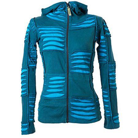 Vishes – Alternative Bekleidung – Damen Patchwork Jacke mit Cutwork und Zipfelkapuze türkis 4042