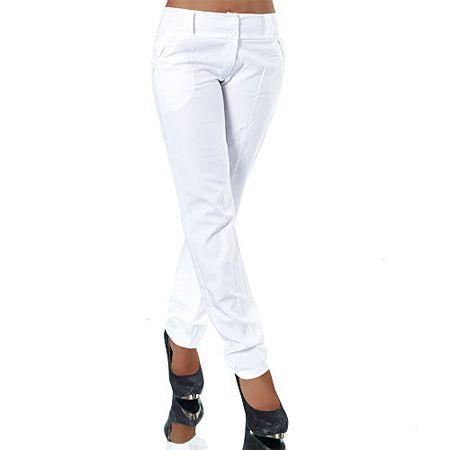 H325 Damen Business Hosen Stoffhose Bootcut Elegante Hose Classic Gerades Bein, Farben:Weiß;Größen:44 XXL (Etikett T6)