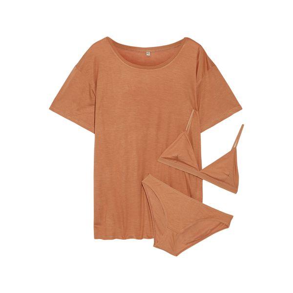 Set aus T-Shirt, Soft-BH und Höschen aus Bambus-Jersey