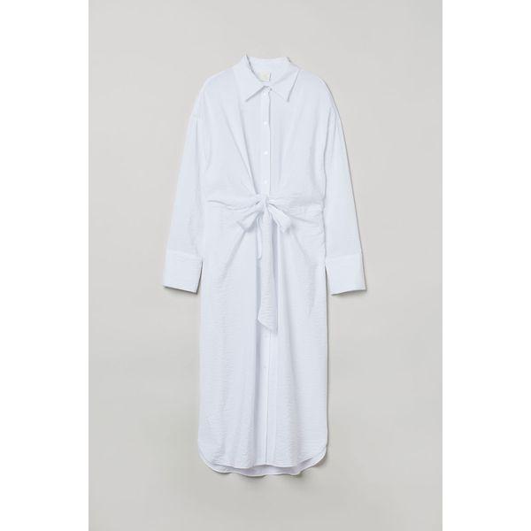 H & M - Blusenkleid zum Binden - Weiß - Damen