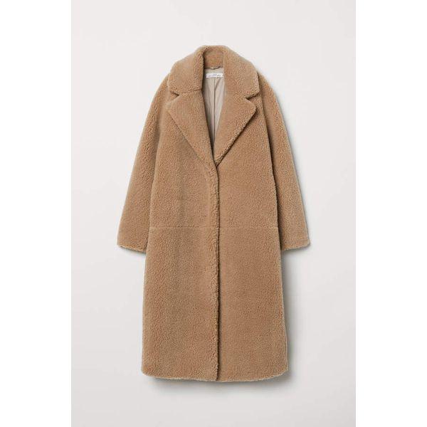 H & M - Langer Mantel aus Teddyfleece - Dunkelbeige - Damen