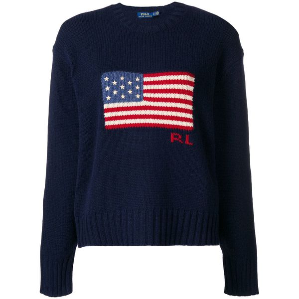Polo Ralph Lauren Pullover mit Amerika-Flagge - Blau