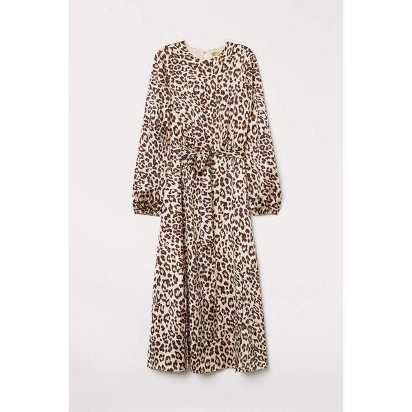H & M - Gemustertes Kleid - Beige/Leopardenmuster - Damen
