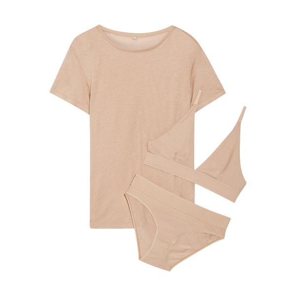Set aus T-Shirt, Soft-BH und Höschen aus Jersey