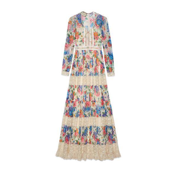 Kleid mit Spitzendetails und Print von Ken Scott