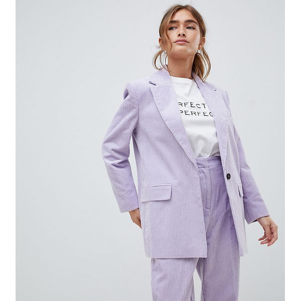 ASOS DESIGN Petite - Figurbetonender Blazer aus Cord - Violett