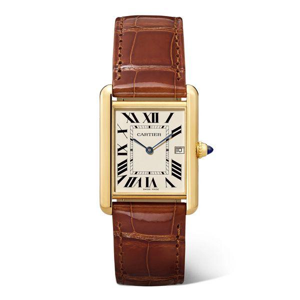 Cartier - Tank Louis Cartier Große 25,5 Mm Uhr Aus 18 Karat Gold Mit Alligatorlederarmband - one size