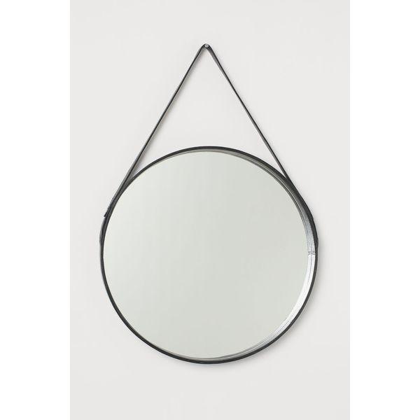 H & M - Runder Spiegel mit Lederrahmen - Schwarz - Zuhause