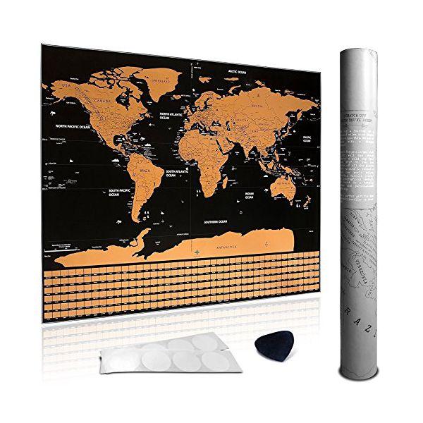 Rubbel-Weltkarte XXL - stilvolle Weltkarte zum Rubbeln in Schwarz/Bronze mit edlem Look - Perfekte Geschenkidee für sich oder die Liebsten - Rubbel Landkarte für Reisefans, Backpacker, Globetrotter, Abenteurer, Weltenbummler, Urlauber, Entdecker - Inklusive Scratcher und Klebestripes! - Maße 82,5 x 60,5 cm