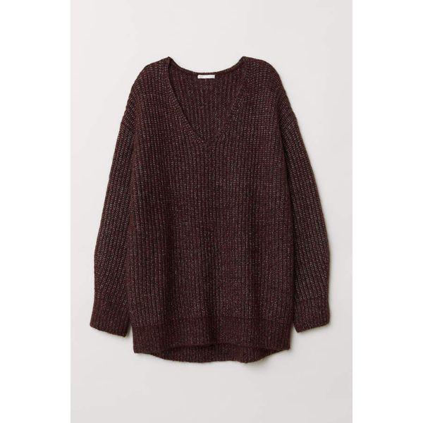 H & M - Gerippter Pullover - Dunkelweinrotmeliert - Damen