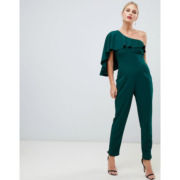 City Goddess - One-Shoulder-Jumpsuit mit weitem Beinschnitt - Grün