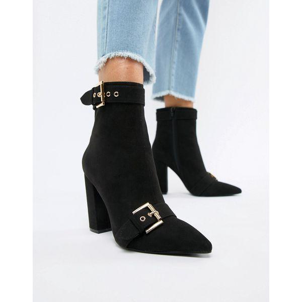London Rebel - Spitze Ankle Boots mit Absatz - Schwarz