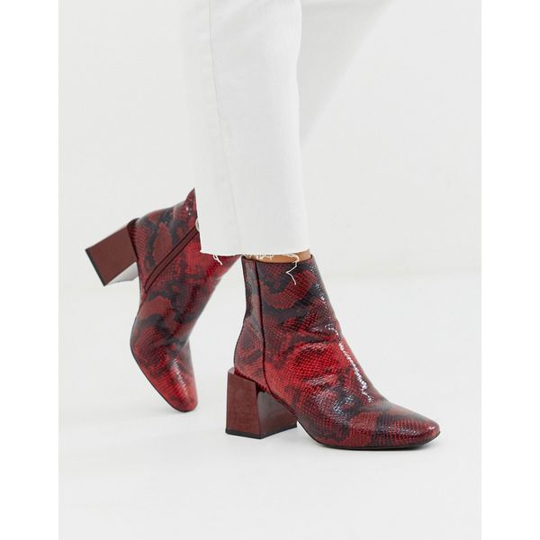 ASOS DESIGN - Reed - Ankle Boots mit Absatz und rotem Schlangenledermuster - Rot