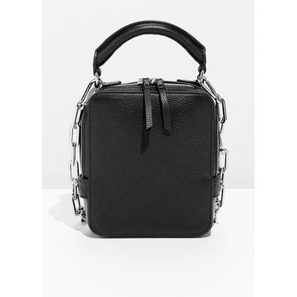 Boxy Leather Bag - Black