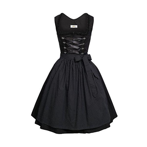 BEST-PRICE Midi Dirndl Amelie in schwarz von Almsach, Größe:46, Farbe:Schwarz