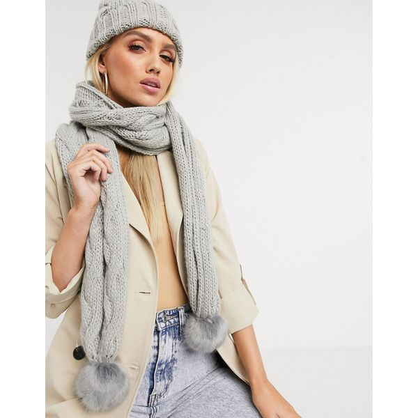 Lipsy – Grauer Schal mit Bommeln