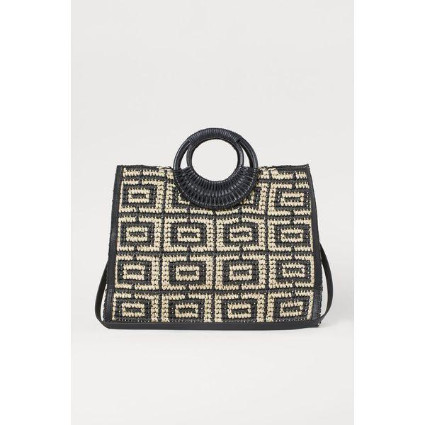 H & M - Shopper aus Papierstroh - Schwarz - Damen