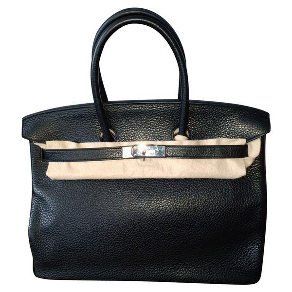 Hermès Birkin Bag 35 aus Leder in Schwarz