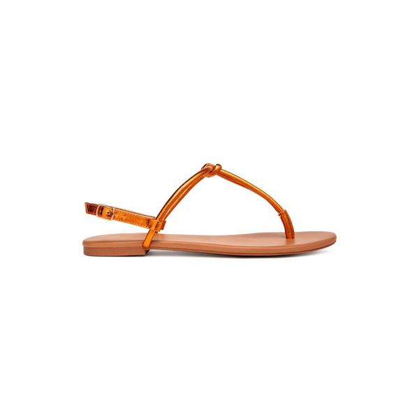 H & M - Riemensandalen - Orange/Metallic - Damen