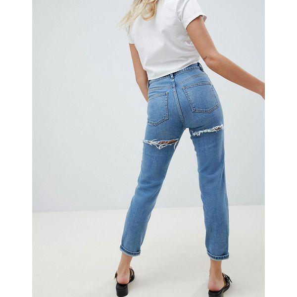 ASOS DESIGN - Farleigh - Schmale Mom-Jeans mit hohem Bund in heller Stone-Waschung mit Zierrissen hinten - Blau