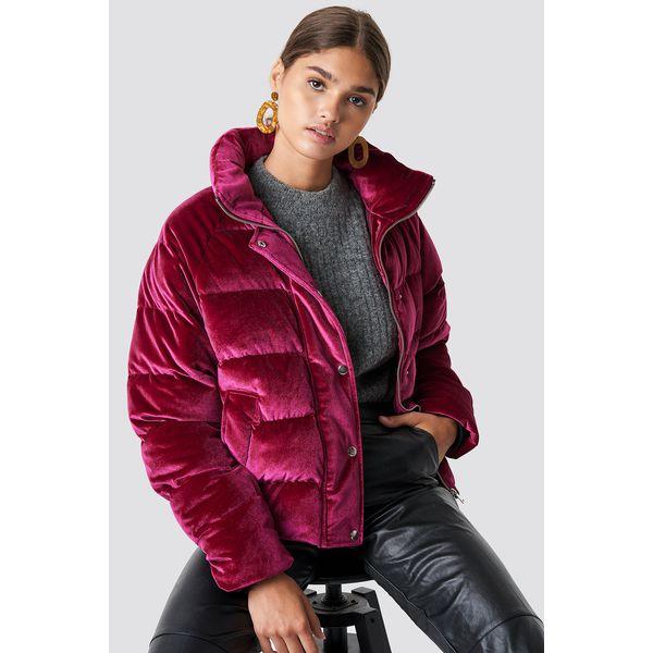 NA-KD Velvet Puffer - Pink,Red,Burgundy