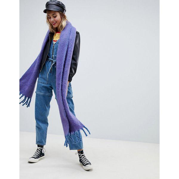 ASOS DESIGN - Flauschiger Schal mit Quasten - Violett