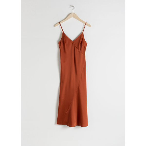 Midi Slip Dress - Orange