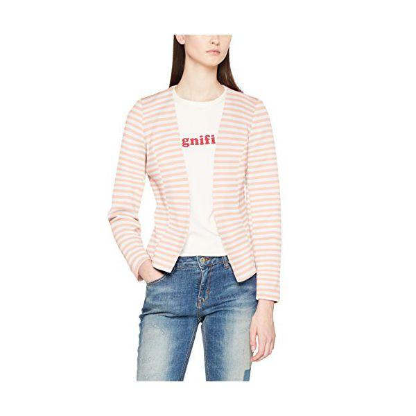 ONLY Damen Anzugjacke Onlanna Short Blazer Noos Tlr, Mehrfarbig (Cameo Rose Stripes:Bright White), 34