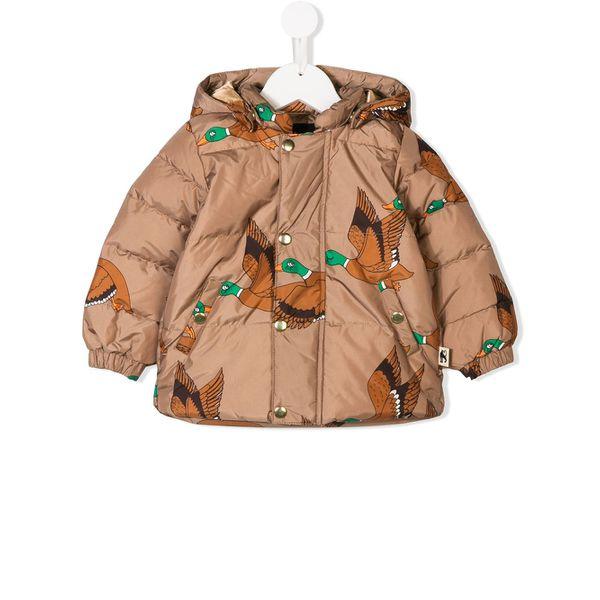 Mini Rodini Duck print puffer jacket - Braun