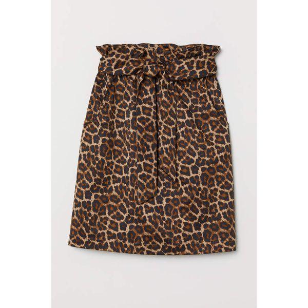 H & M - Paperbag-Rock - Beige/Leopardenmuster - Damen