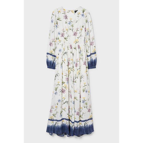 C&A; Fit & Flare Kleid-geblümt, Weiß, Größe: 40
