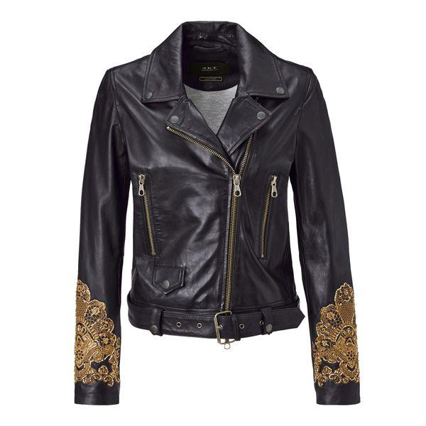 Lederjacke, mit hochwertiger Stickerei und Kunstperlen Bestickung, Leicht tailliert