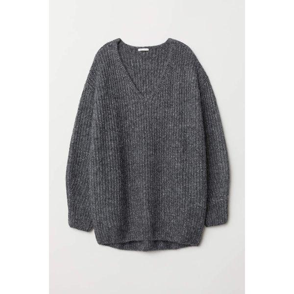 H & M - Gerippter Pullover - Dunkelgraumeliert - Damen