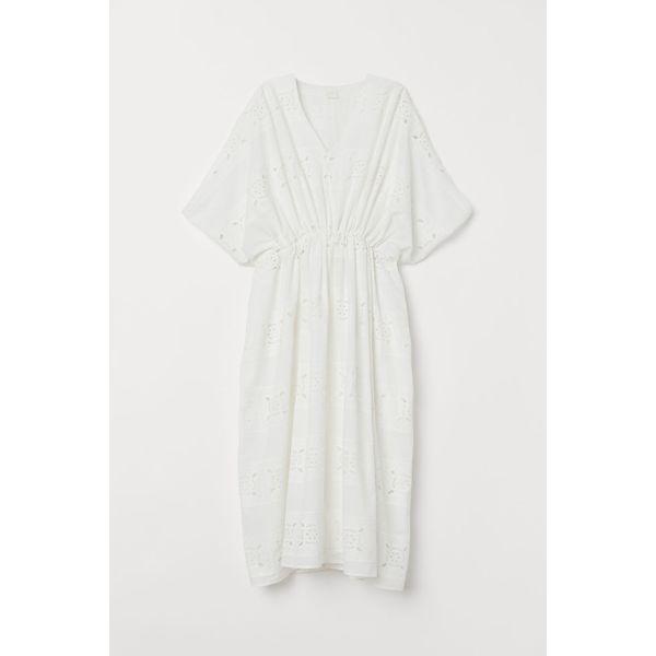 H & M - Kaftankleid aus Baumwolle - White - Damen