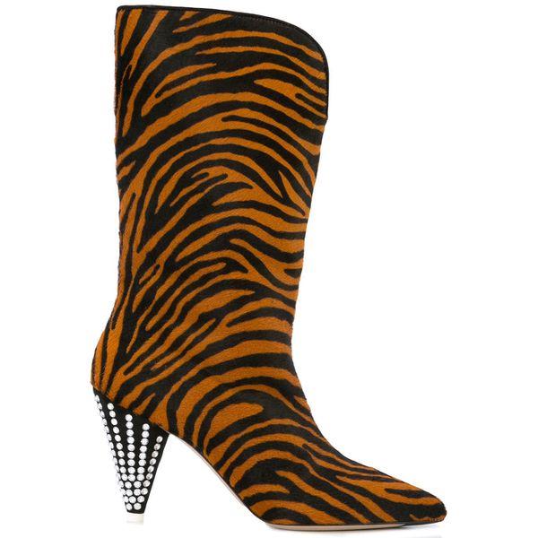 Attico Stiefel mit Zebra-Print - Braun