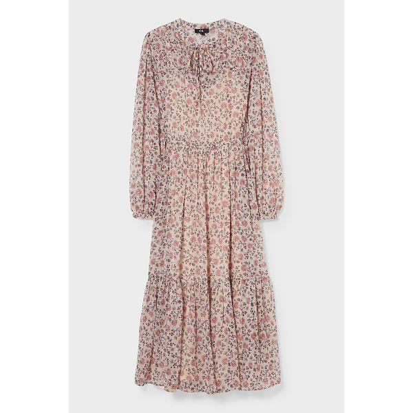 C&A; Fit & Flare Kleid-2 teilig-recycelt-geblümt, Beige, Größe: 40