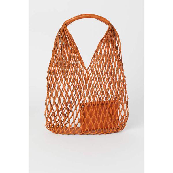 H & M - Netztasche aus Leder - Orange - Damen